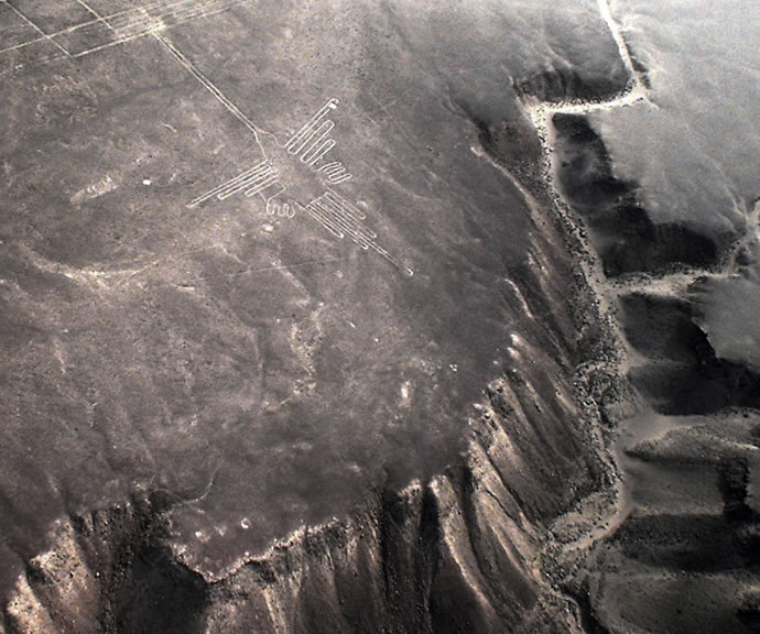 Nazca Hummingbird, 310 feet long<br /> Geoglyph created by the Nazca in Peru